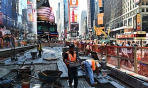 Construction site in Times Square, New York