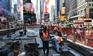 A construction site in Times Square, New York. An increase in construction jobs in April helped to push non-farm payrolls to 263,000, easily beating expectations