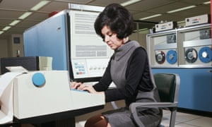 Computer Operator Using IBM 360 Computer 1969 Somerville, New Jersey, USA