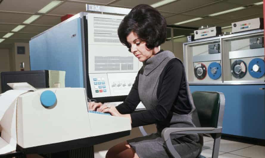 Computer Operator Using IBM 360 Computer 1969 Somerville, New Jersey, USA