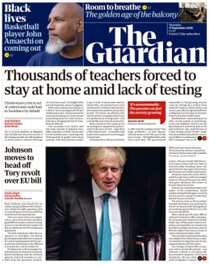 Guardian front page, Thursday 17 September 2020