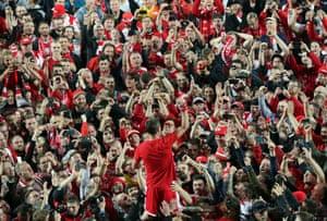 Union's Michael Parensen celebrates with fans.
