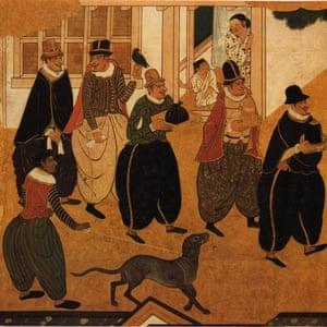 Detail of a Nanban screen, circa 1593-1600.