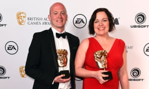 Dan Pinchbeck and Jessica Curry, co-founders of The Chinese Room, showing off their Bafta wins for Everybody's Gone to the Rapture