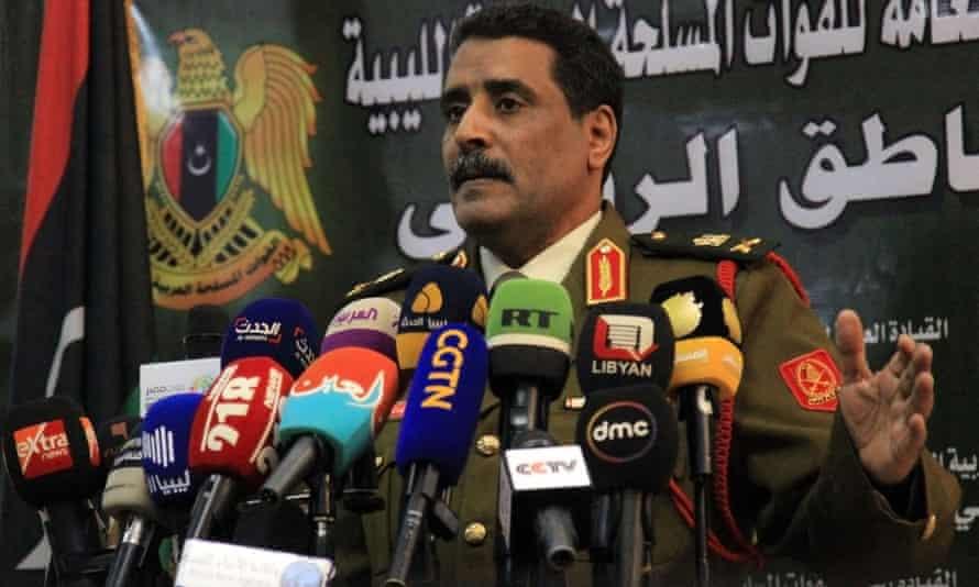 A spokesman for the self-styled Libyan National Army, Ahmed al-Mismari, addresses the media