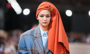 A model in a head wrap during the Marc Jacobs show