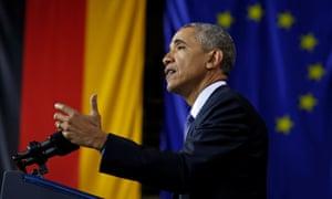 President Obama delivering a speech in Hanover.