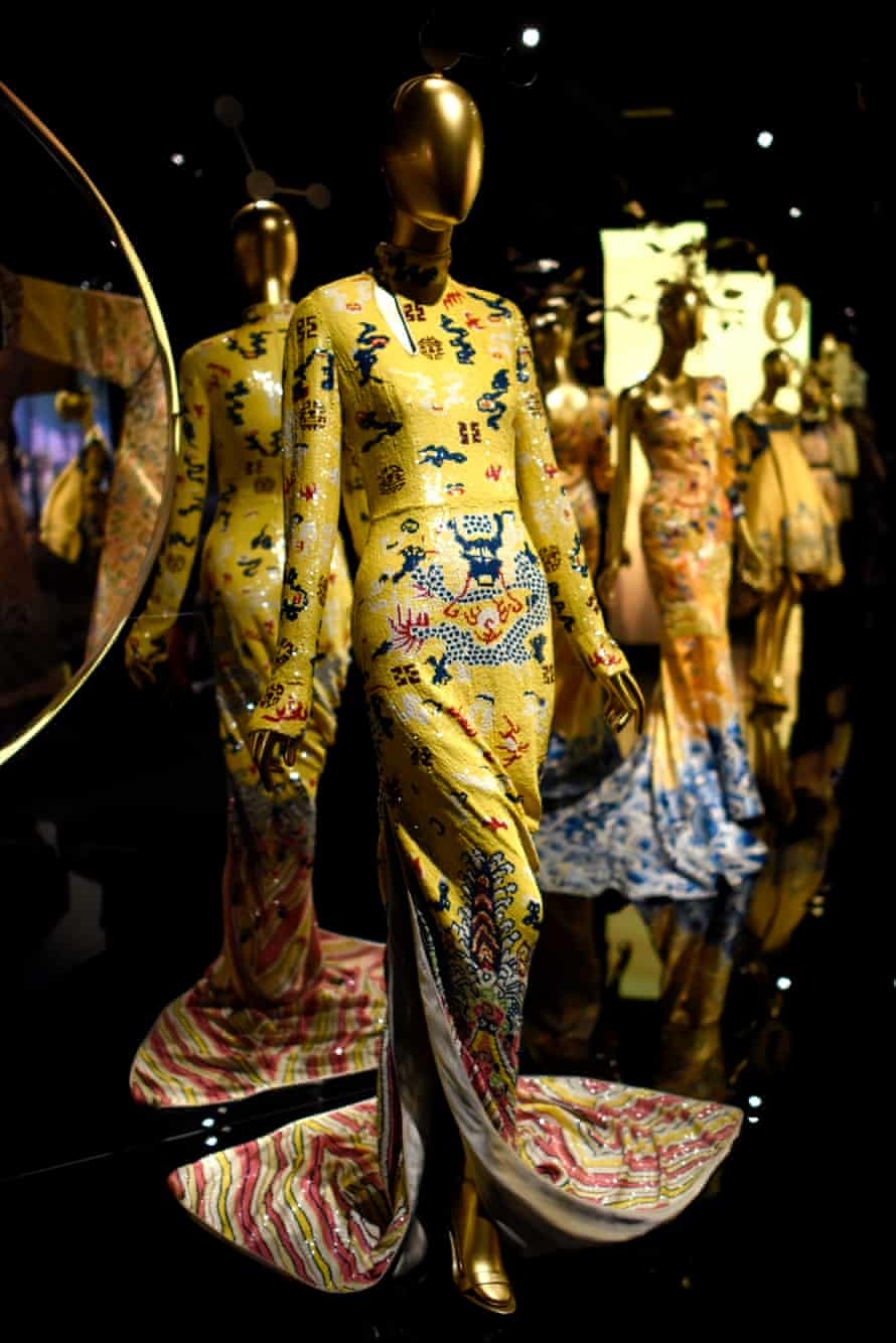 The exhibit focuses on the influence of Chinese aesthetics on western fashion and looks back at some of the history of Chinese design.