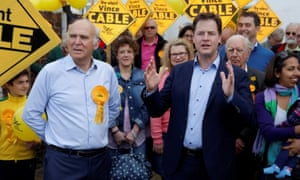 Nick Clegg helps Vince Cable in Twickenham in the 2015 general election