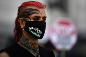 Madrid, Spain A pro-animal activist wears a mask that reads 'I defend the animals' at a protest against bullfighting in front of Madrid's City Hall
