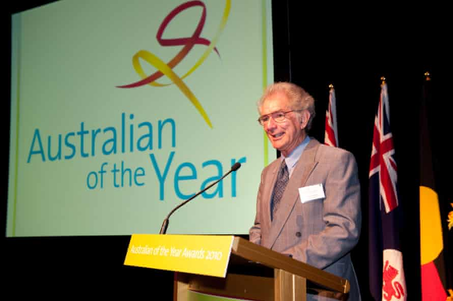Bruce Englefield giving a speech after being awarded Tasmania's Australian of the year in 2010. In 2021 he was awarded an Order of Australia medal.