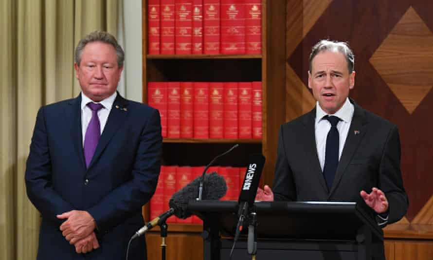Andrew Forrest at a media conference with Australia's health minister Greg Hunt