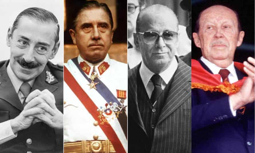 The dictators, from left: Jorge Videla of Argentina, Augusto Pinochet of Chile, João Figueiredo of Brazil and Alfredo Stroessner of Paraguay.