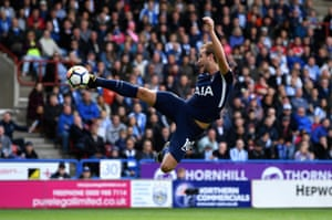 Harry Kane shoots and scores but it is ruled offside as Spurs beat Huddersfield Town 4-0 at the John Smith's Stadium.