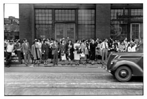 Waiting for a streetcar downtown Pittsburgh 1950