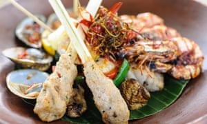 Indonesian barbecued seafood with fish satay