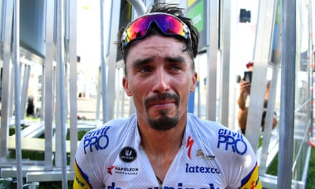Julian Alaphilippe, who lost his father through illness in June, was emotional after the race.