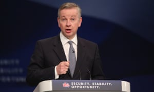 Michael Gove addresses delegates at the Conservative party conference