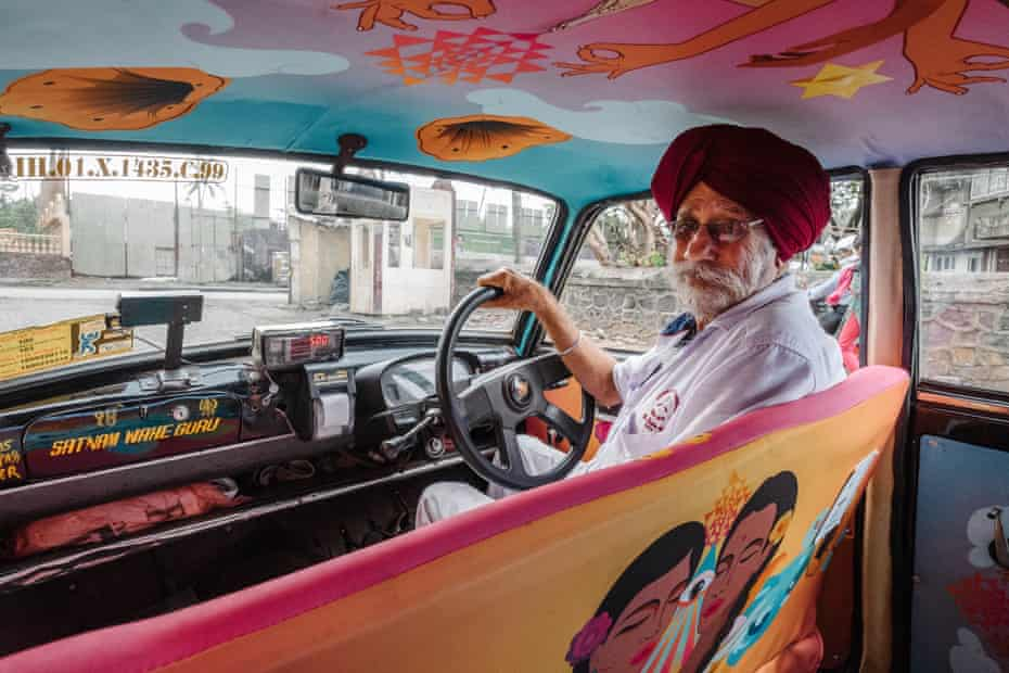 One of Mumbai's colourful taxis.