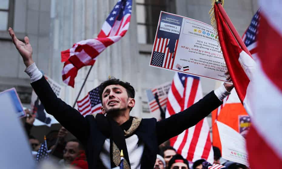 Yemenis and supporters protest against Donald Trump's executive order temporarily banning immigrants and refugees from seven Muslim-majority countries, including Yemen on 2 February 2017 in Brooklyn.