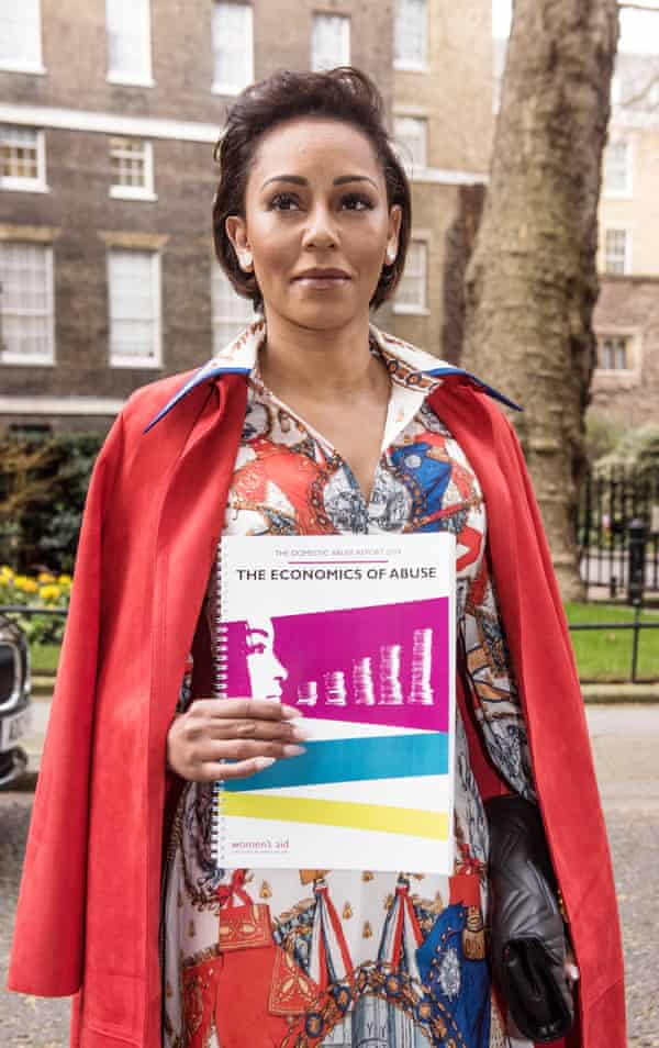 Mel B with the Women's Aid report on domestic abuse, at Downing Street in 2019.