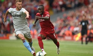 Naby Keïta takes on West Ham's Andriy Yarmolenko during an excellent debut for Liverpool.