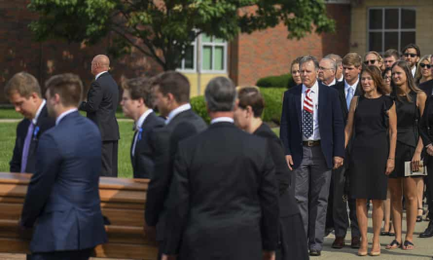 A long line of mourners formed in the early hours of the morning for Warmbier's funeral, held at the high school from which he graduated in 2013.