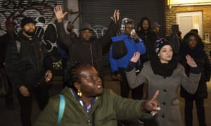 Crowds gathered on the streets of Brooklyn to protest about the shooting on Wednesday.
