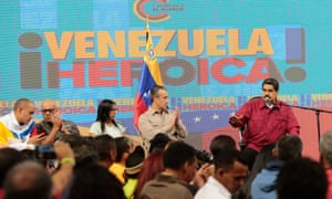 Venezuelan President Nicolas Maduro, right, at a meeting with constitutionalists in Caracas on August 2, 2017