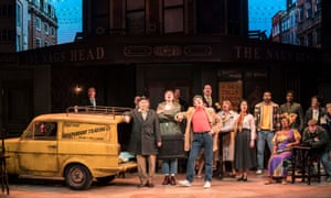 Paul Whitehouse (leaning on van) as Grandad and the rest of the cast of Only Fools and Horses on stage.