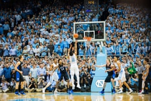 Joel Berry II (2) tries a shot in the final seconds but fails to score during the NCAA Basketball game between the Duke Blue Devils and the North Carolina Tar Heels in Chapel Hill, North Carolina, 2016