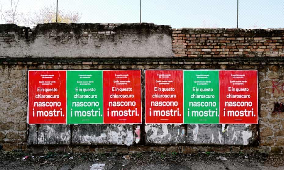 Gramsci's words on posters in Rome, 2018, by Alfredo Jaar.