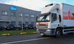 Pfizer is upscaling production at its plant in Puurs, Belgium, in efforts to produce more doses for 2021, temporarily reducing deliveries to all European countries. Photograph: Olivier Hoslet/EPA