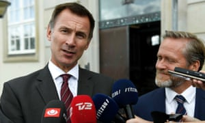 Jeremy Hunt and his Danish counterpart Anders Samuelsen on 15 August.