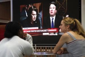 Students watch as Brett Kavanaugh is questioned by US senator Dianne Feinstein