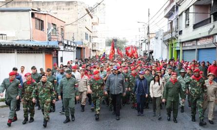 Venezuela's president Nicolas Maduro (centre) attending a military ceremony in Caracas.
