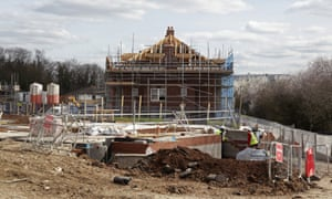 A new house under construction at Taylor Wimpey's Churchill Place development in Mill Hill, London.