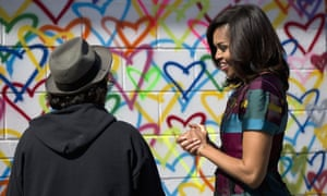 Michelle Obama at a Let Girls Learn mural in Washington celebrating Let Girls Learn and International Women's Day in 2016.