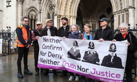 protest outside the 'Spycops' public inquiry in the Royal Courts of Justice