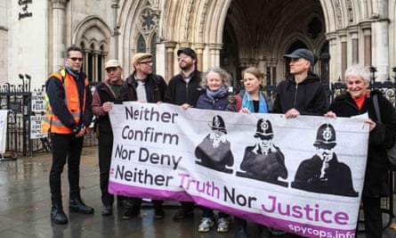Protesters, including Green party peer Jenny Jones, outside the Spycops inquiry.