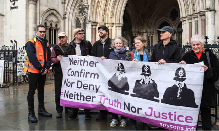 A protest held on the first day of the public inquiry into undercover policing at the royal courts of justice, London, on 20 November 2017.