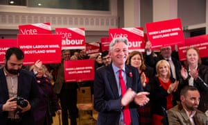 The Scottish Labour leader, Richard Leonard, with candidates and activists at the Scottish Labour campaign launch.