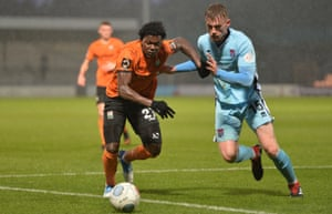 Barnet in action against Bath in the FA Trophy in December. It is the trophy Steve Percy would most like the club to win.