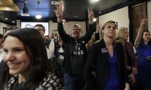 Supporters of US Senate hopeful Beto O'Rourke cheer during a Democratic watch party following the Texas primary election Tuesday in Austin.