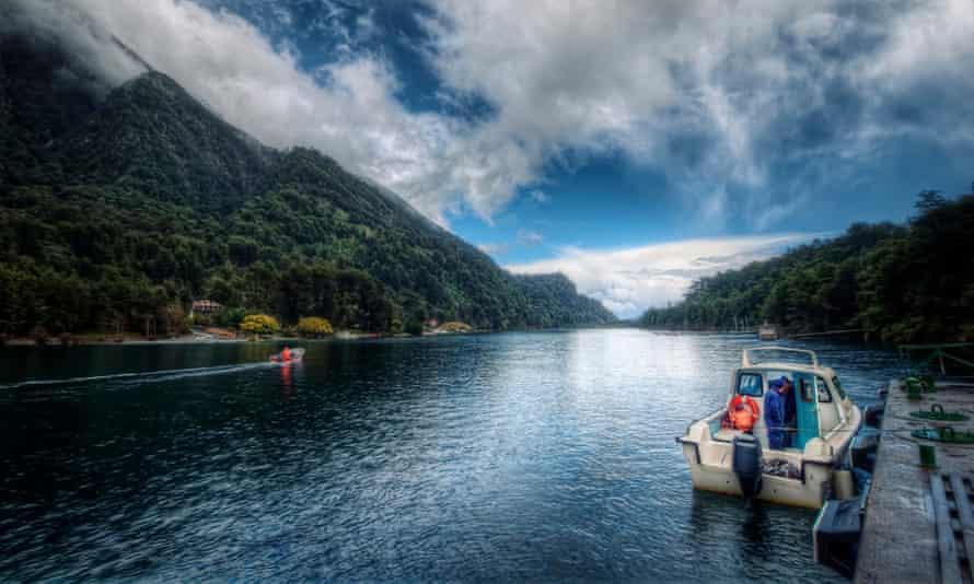 Boat on Todos Los Santos Lake, Chile.