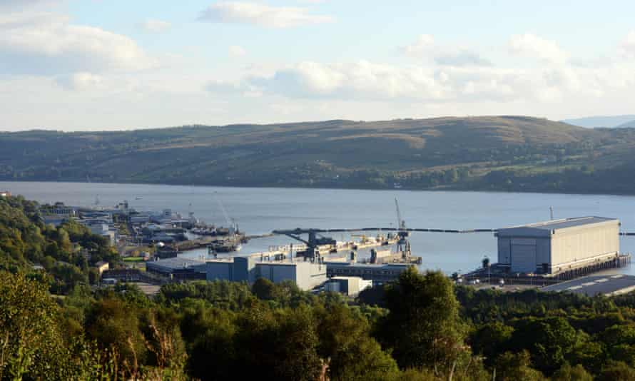 Faslane naval base, home to Britain's Trident submarines.