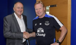 Steve Walsh is greeted by the Everton manager Ronald Koeman.