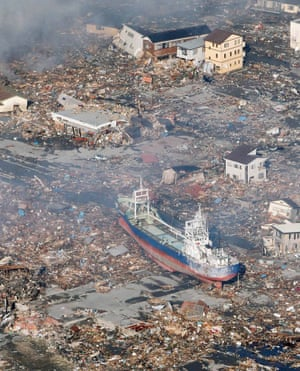 A ship washed on to the streets of Kesennuma by the tsunami in March 2011
