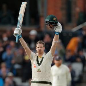 Australia's Steve Smith celebrates his double century.