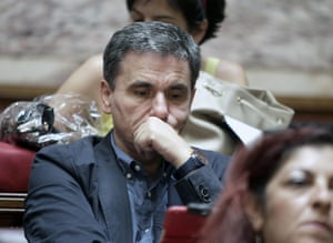 epa04803007 Greeκ Alternate Minister for International Economic Relations Euclid Tsakalotos attends a party meeting in the Greek Parliament in Athens, Greece, 16 June 2015. The Greek Parliament After four months of intensive negotiations, Greece had submitted a proposal that could have been the basis for a sustainable and socially acceptable agreement, Prime Minister Alexis Tsipras told SYRIZA's Parliamentary group on Tuesday.'